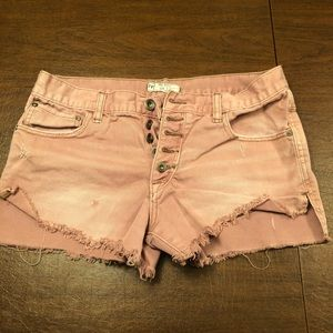 Free People Blush Denim Jean Shorts